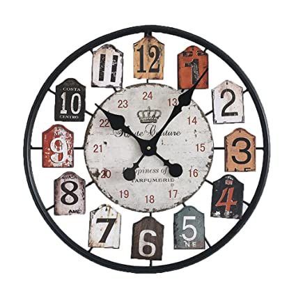 Mbd Wrought Iron Wall Clock European Style Metal Hollow Round Silent Movement No Ticking Wall Clock