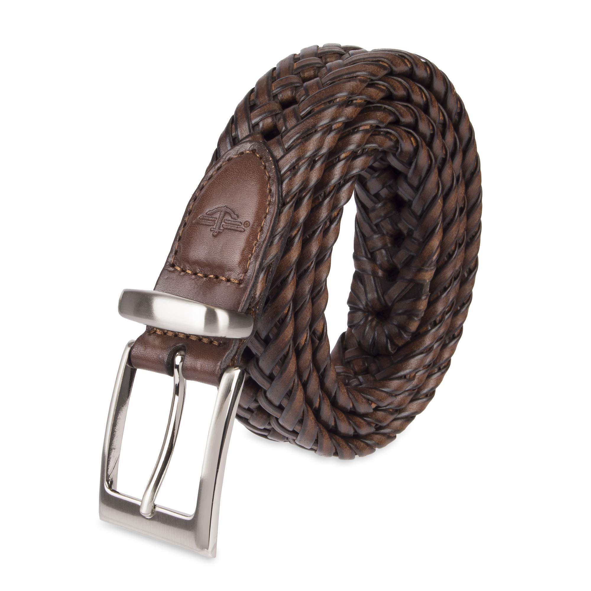 Dockers Men's  1 1/4 in. Laced Braid Metal Logo Belt,Tan,36