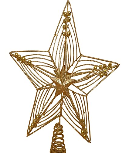 33fbb879bc5a UK-Gardens Christmas Decorations - 30cm Large Gold Star Glitter And Beads Christmas  Tree Topper