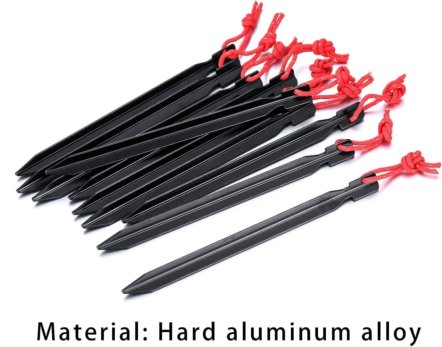 de aluminio color negro con cuerda reflectante para p/ícnic ultraligeros monta/ñismo 10 clavos para tienda de campa/ña