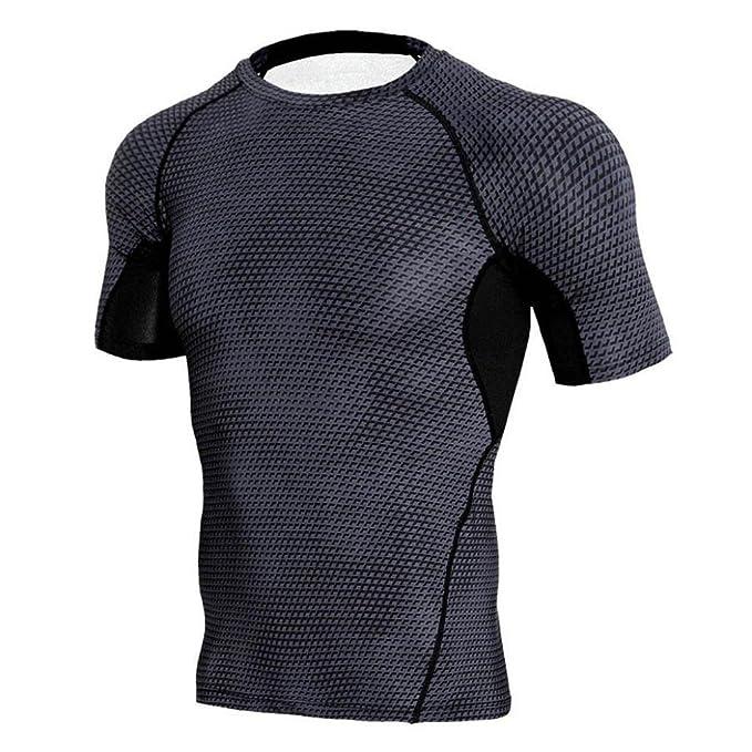 LAND-FOX Camiseta Para Hombre Hombre Entrenamiento Leggings Fitness Sports Gym Corriendo Yoga Athletic Shirt Top Blusa: Amazon.es: Ropa y accesorios