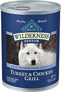 Blue Buffalo Wilderness High Protein Grain Free, Natural Senior Wet Dog Food, Turkey & Chicken Grill 12.5-oz cans (Pack of 12)