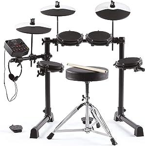 Alesis Debut Kit – Kids Drum Set With 4 Mesh Electric Drum Set Pads, 120 Sounds, 60 Melodics Lessons, Drum Stool, Drum Sticks and Headphones