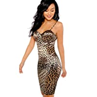 Women's Sexy Sleeveless Leopard Print Strappy Bustier Cami Bodycon Dress