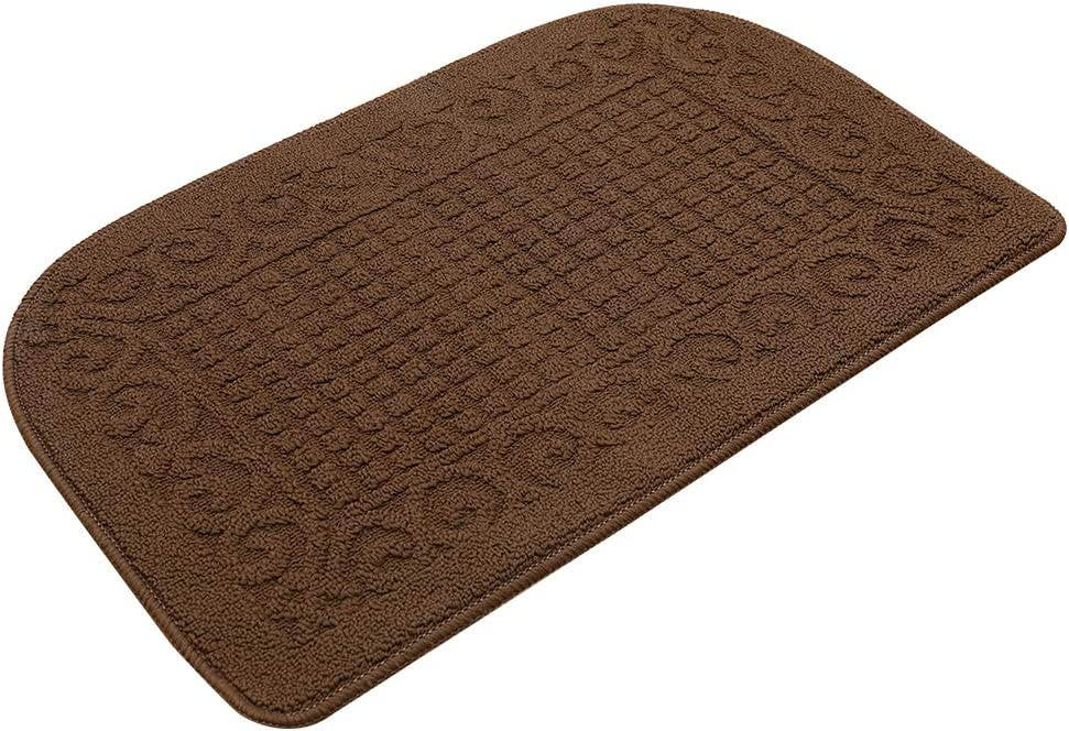 32X20 Inch Anti Fatigue Kitchen Rug Mats are Made of 100% Polypropylene Half Round Rug Cushion Specialized in Anti Slippery and Machine Washable (32x20in Brown 1pc)
