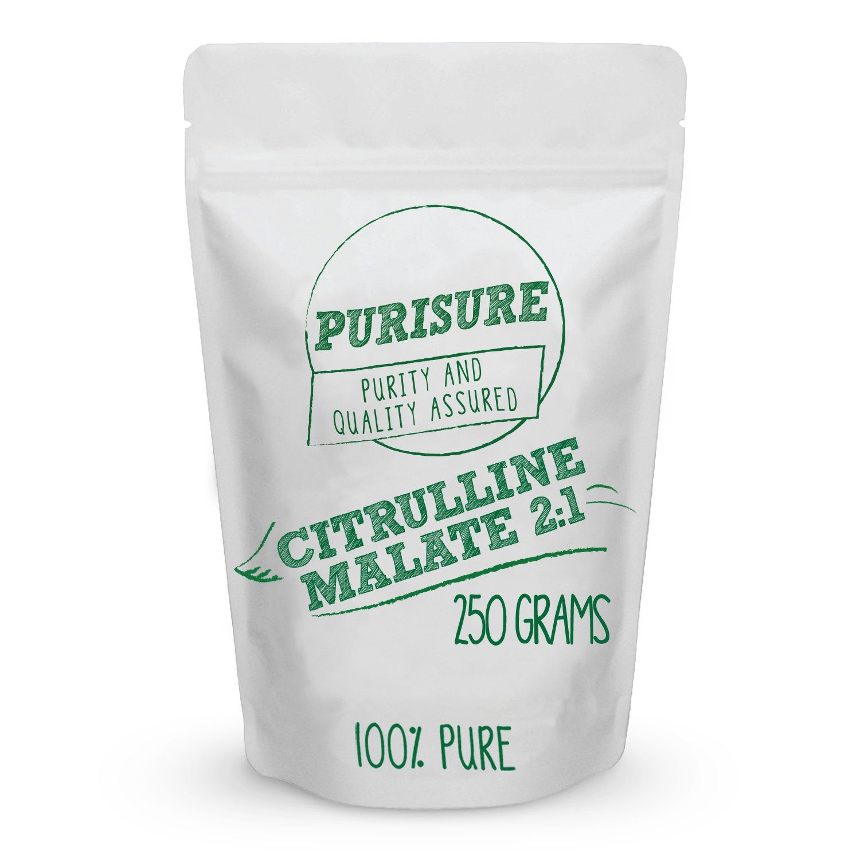 Purisure Citrulline Malate Powder 250 grams (84 Servings) - Bulk Pre Workout Sports Nutrition - L-Citrulline Complex Supplement - Natural Unflavored by Purisure