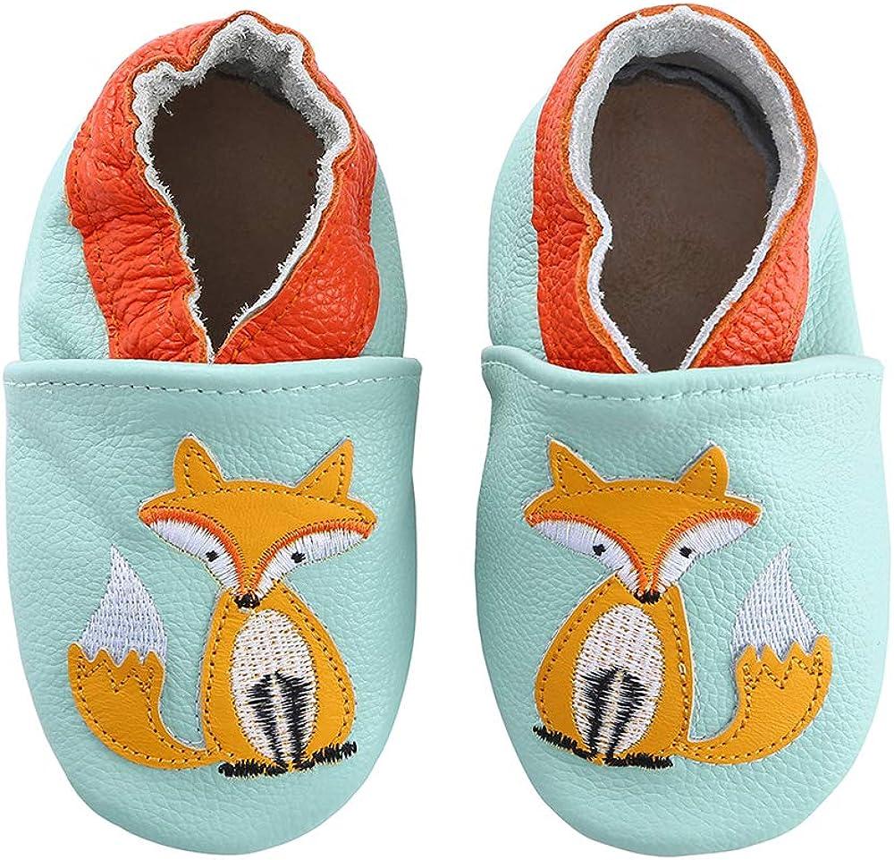 Lindos Cuero Suave Zapatos de Bebe Zapatillas Pantuflas Infantiles Patucos 0-3 Años