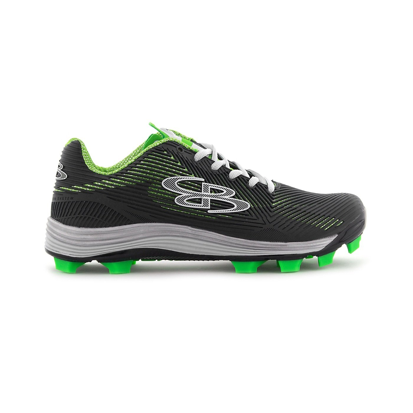 Boombah Women's Spotlight Molded Cleat Black/Lime Green - Size 12 by Boombah