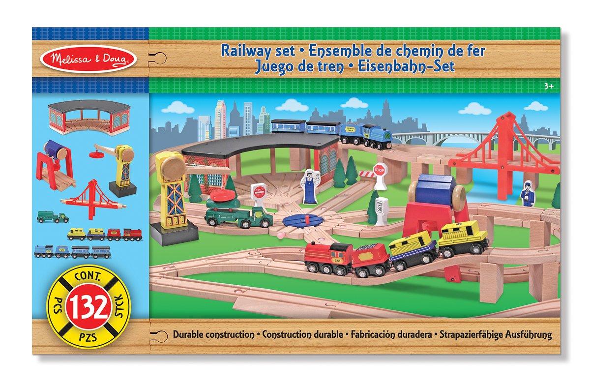 Amazon.com: Deluxe Wooden Railway Set by Melissa & Doug: Toys & Games