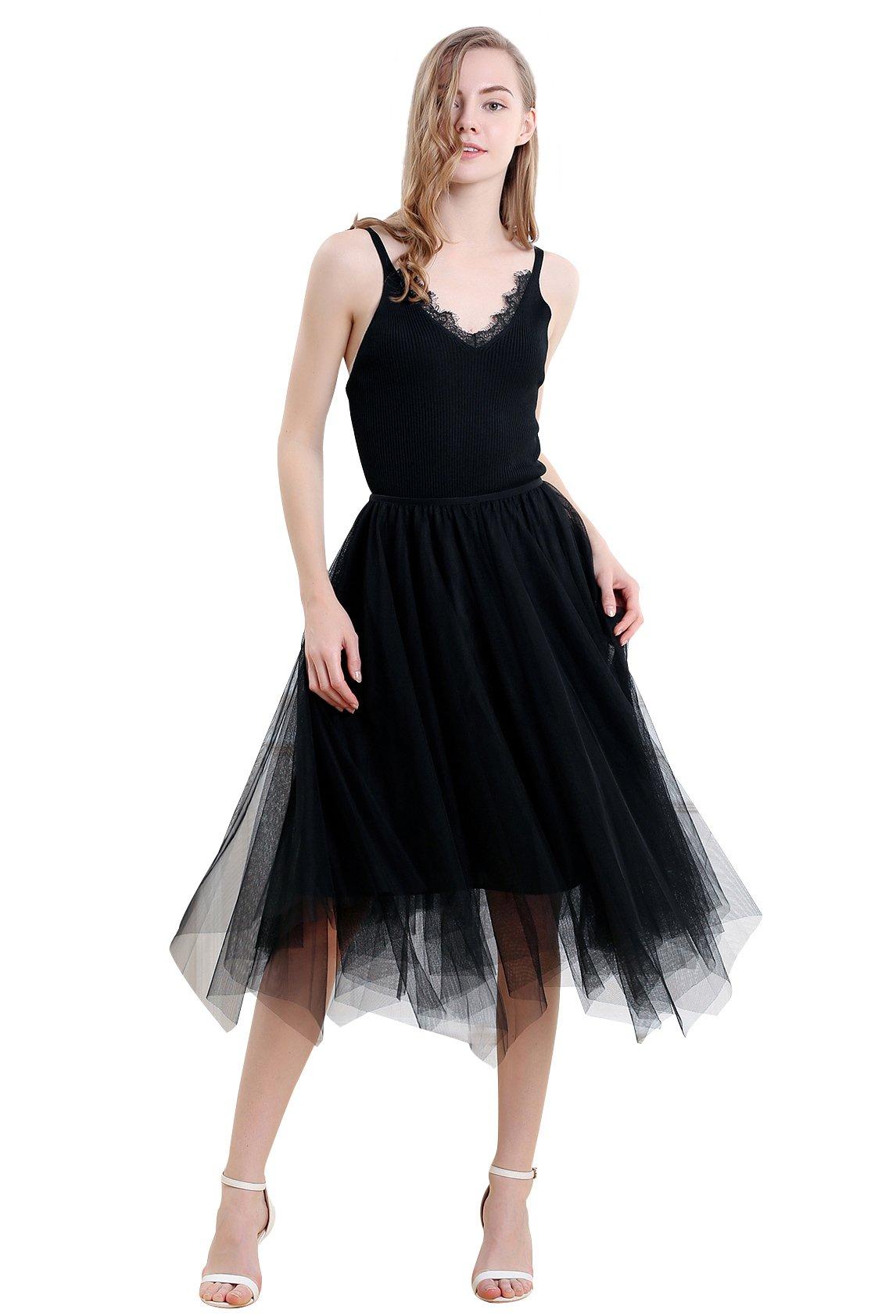 Vero Viva Women Summer Tulle Mesh Asymmetrical Elastic High Wasit Skirt with Linning Black