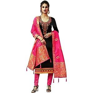 907c275217cf9 Ladyline Silk Embroidered Plain Salwar Kameez with Banarasi Silk Dupatta  Indian Pakistani Dress for Womens