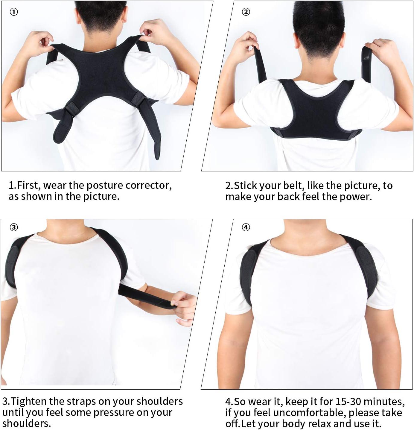Regolabile e Traspirante Indietro a Fascia Postura Correzione Cintura Che Fornisce Sollievo dal Dolore per il Collo Schiena Spalle Correttore Posturale Spalle,Spalle Schiena Supporto per Uomo e Donna