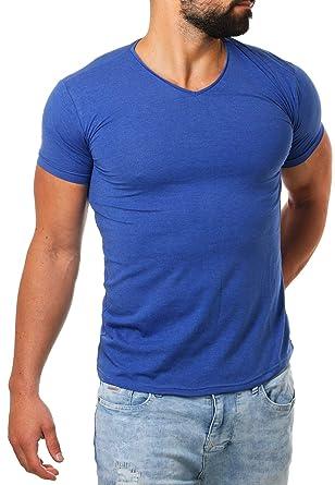 fc1942132bce Young Rich Herren V-Ausschnitt T-Shirt einfarbig körperbetont mit  Stretchanteilen Uni Basic V-