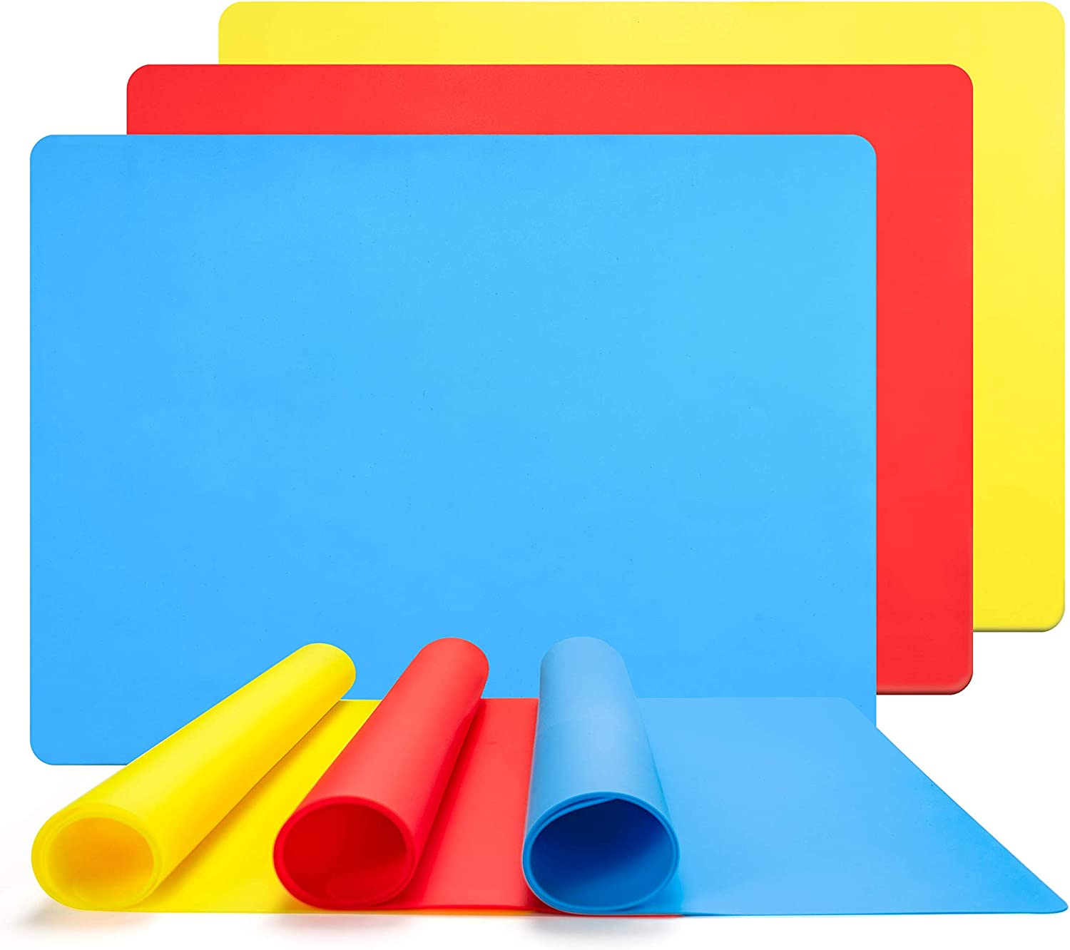 Muscccm 3 Pack Extra Large Silicone Sheet for Crafts Casting Moulds Mat, Food Grade Silicone Placemat, Multipurpose Mat, Nonstick Nonskid Heat-Resistant,Blue & Red & Yellow