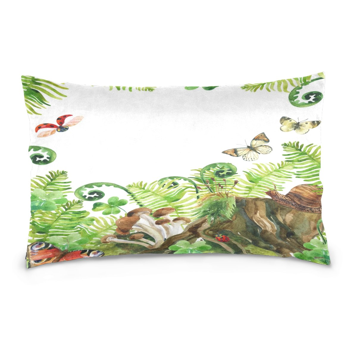 ALAZA Colorful Forest watercolor Wildlife Natural Woods Life Cotton Lint Pillow Case,Double-sided Printing Home Decor Pillowcase Size 16''x24'',for Bedroom Women Girl Boy