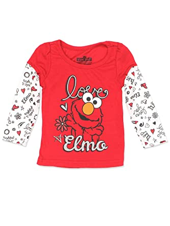 Amazon Com Sesame Street Elmo Girls Long Sleeve Tee Baby Toddler