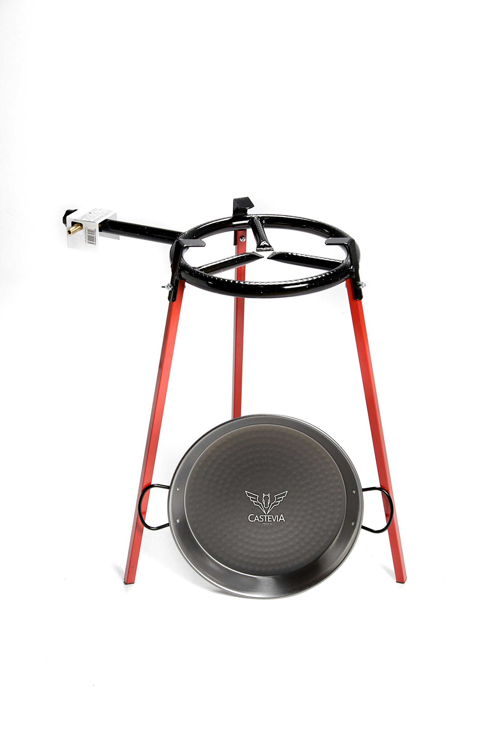 Eco Set paella pan 38cm 8 servings set of 3 square support legs + 38cm 8 servings polished steel paella pan + 300mm gas burner by Castevia