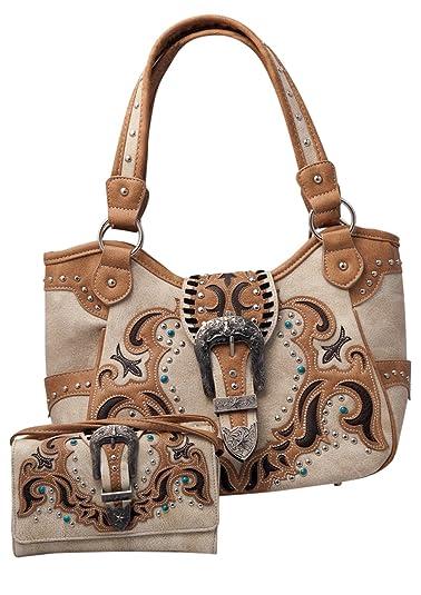 1afb40eef0c4 HW Collection Western Handbag Buckle Laser Cut Concealed Carry Shoulder  Purse and Wallet Set