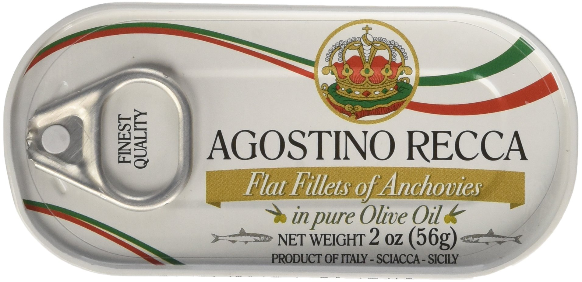 Agostino Recca - Flat Fillets of Anchovies in Olive Oil, (3)- 2 Ounce. Tins
