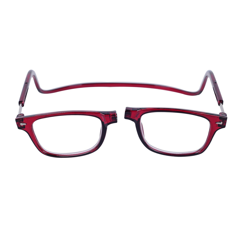 QIXU Magnetiques Lunettes de Lecture Presbyte Rouge 4.0 pour Homme et Femme  Aimantées Lunettes pour Lire Pliables Régables Monture Noir Lens  Transparentes ... 36e9f55f745d