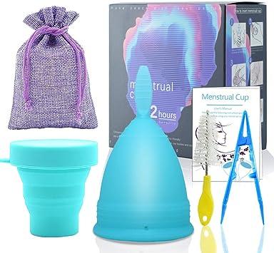 SPEQUIX - Juego de 1 taza menstrual azul y 1 taza esterilizadora para mujer con esterilizador