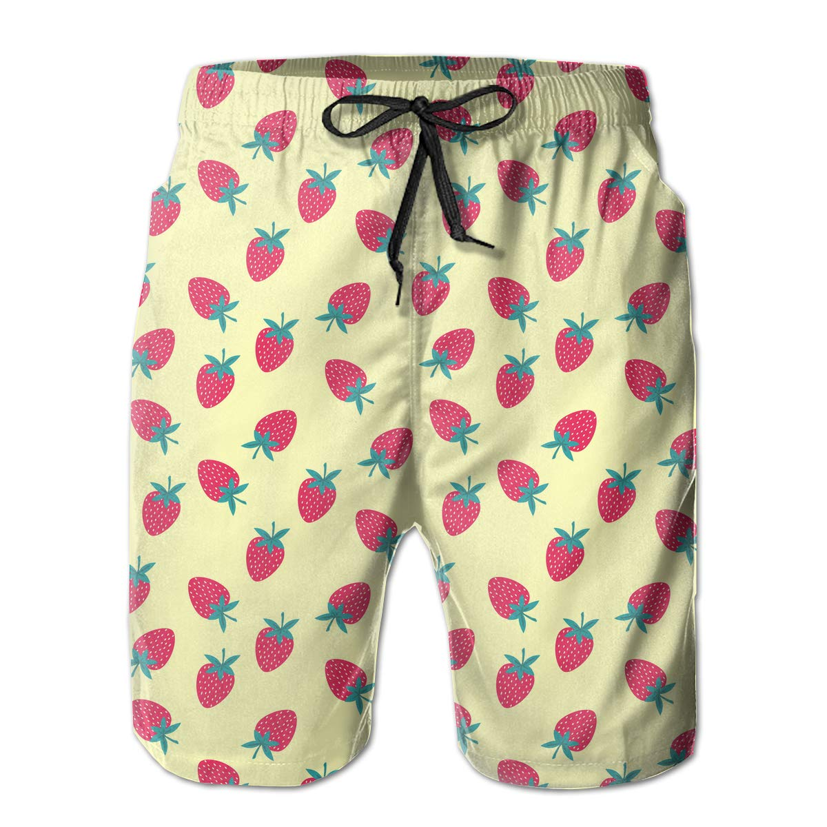 Xk7@KU Mens Casual Swim Trunks Polyester Strawberries Pattern Swimsuit with Pockets