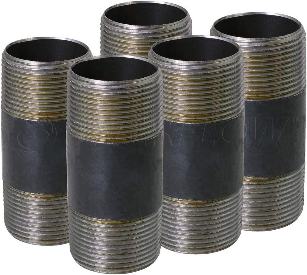 Black x 3-1//2 In 1-1//4 In 5 Pack SUPPLY GIANT OQCM1135-5 Steel Nipple Pipe Fitting Threaded Schedule 40