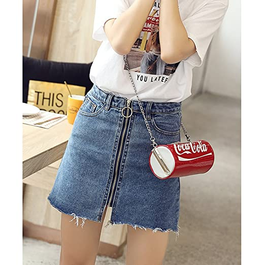 420aab810 Tidecc Women Denim Skirt Summer High Waist Zip up Pocket A-line Mini Skirts  Jean Skirt: Amazon.co.uk: Clothing