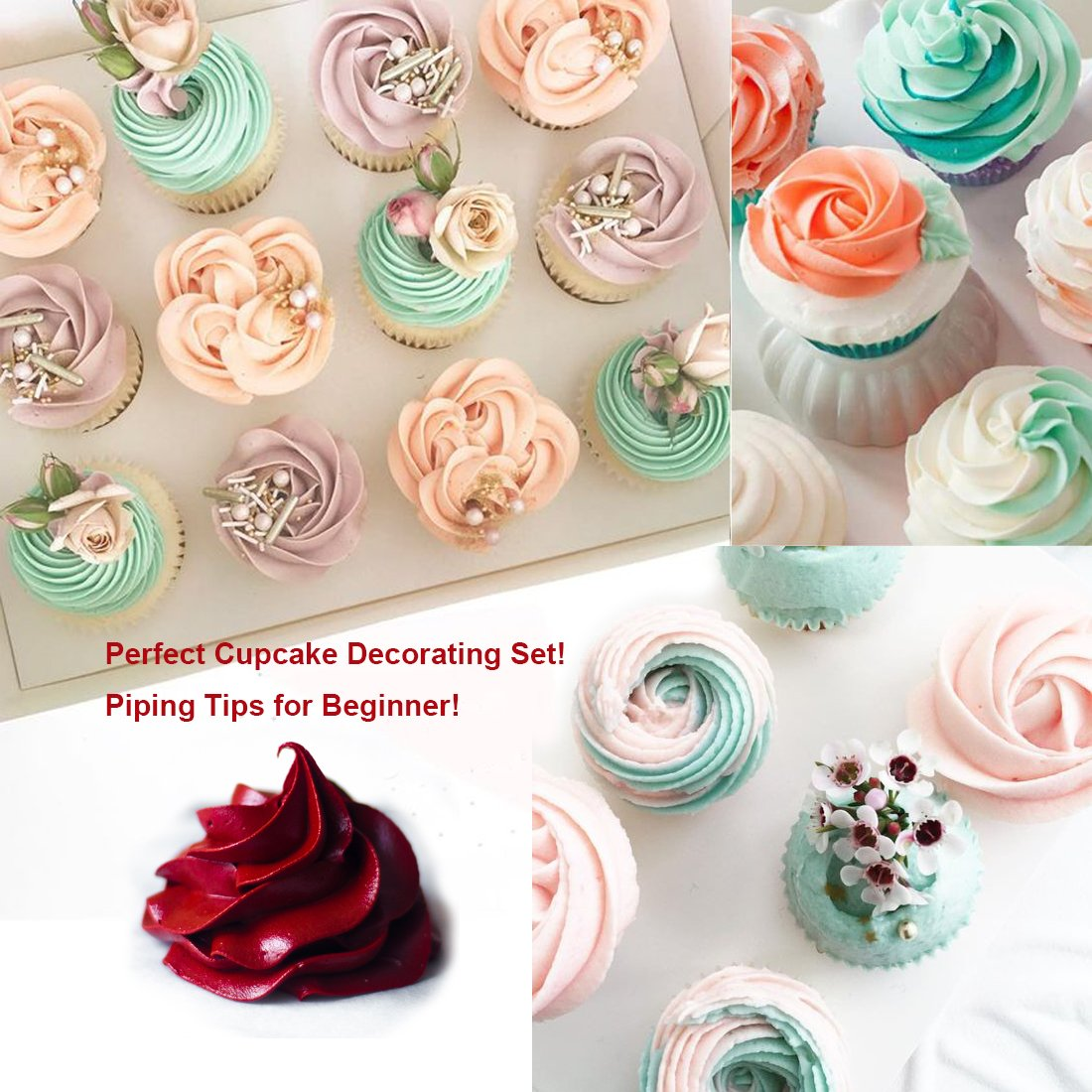 8 Frosting Tip Nozzle Large Icing Piping Tip Cupcake Decorating Tip Set Kit Cake Decorating Supplies 2 Coupler 10 Pastry Bag