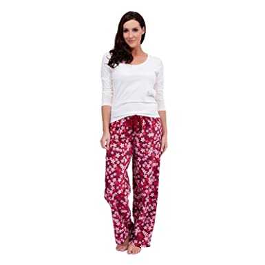 32cd1e4b9 Ladies Blossom Print Fleece Bottoms   Jersey Top PJ Warm Pyjama Set ...