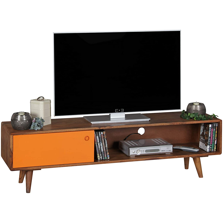 Wohnling TV Lowboard Repa 140 x 40 x 35 cm dunkelbraun//schwarz Sheesham Massiv Holz mit 1 T/ür