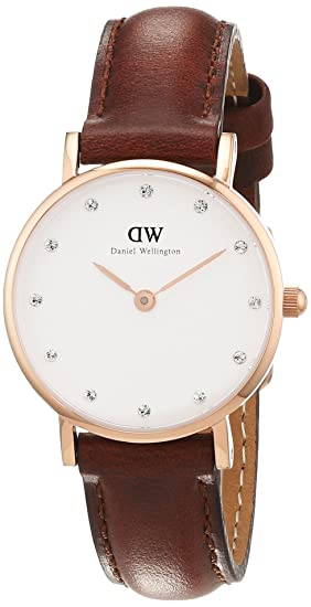 cfb2f4297 Daniel Wellington 0900DW - Reloj con correa de cuero para mujer, color  blanco / gris: Amazon.es: Relojes