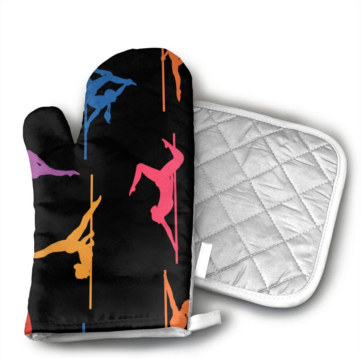 Pole Dance Oven Mitt Pot Holder Set Kitchen Quilted Cotton Polyester LiningOven Mitt with
