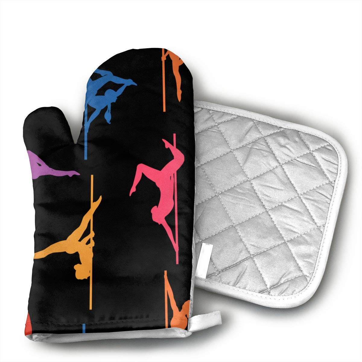 GRSTsys Pole Dance Oven Mitts Heat Resistant to 504 Degrees Kitchen Gloves,Flame Oven Mitt Set