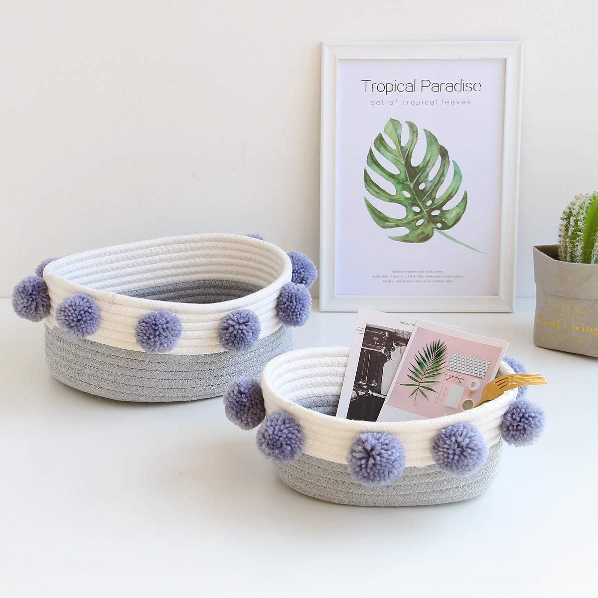 Handmade Wool Ball Cotton Rope Storage Basket, Desktop Decorative Gift Baskets for Christmas, Kids Pet Toy Book Cosmetic Basket 2 pack (Blue)