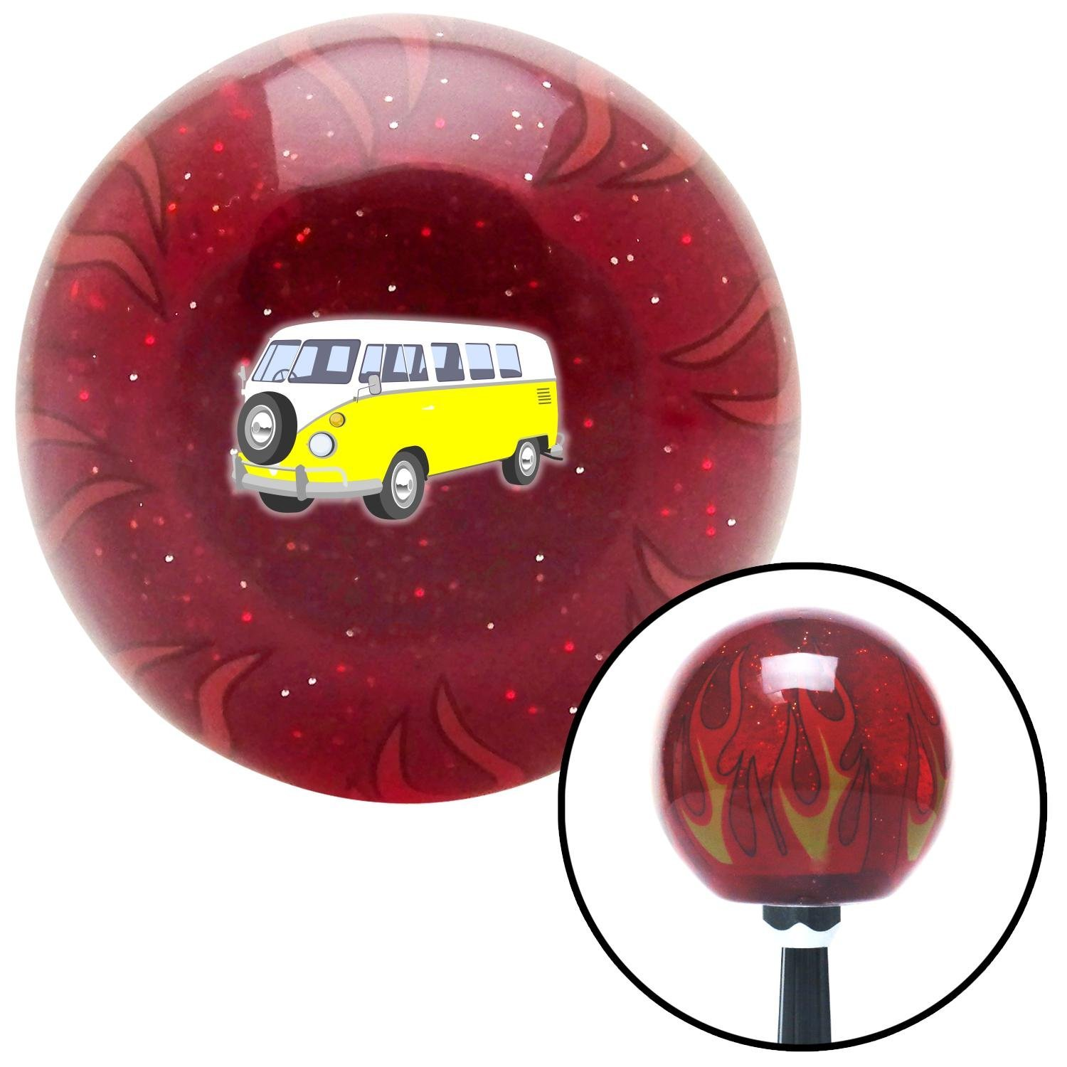 Yellow Camper American Shifter 243622 Red Flame Metal Flake Shift Knob with M16 x 1.5 Insert
