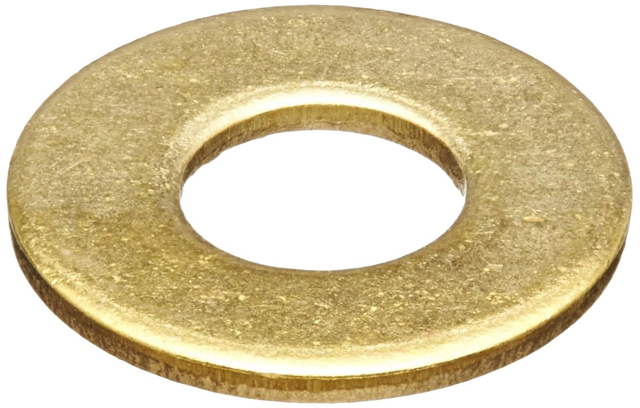 Brass Flat Washer, Plain Finish, No. 4 Screw Size, 0.12'' ID, 9/32'' OD, 0.025'' Thick (Pack of 100)