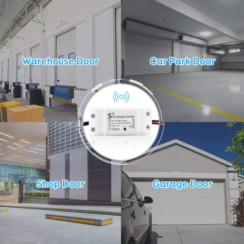Maxcio Garaje Interruptor WiFi Mando Remoto por APP y Voz Registro de Historia Consulta de Estado en Tiempo Real No Necesita Hub Abridor de Puerta Garaje Inteligente Wifi
