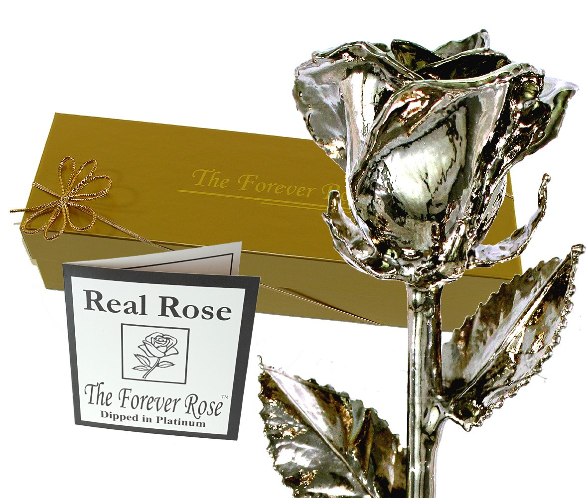 Platinum Dipped Real Rose w/Gold Gift Box by The Original Forever Rose USA Brand!