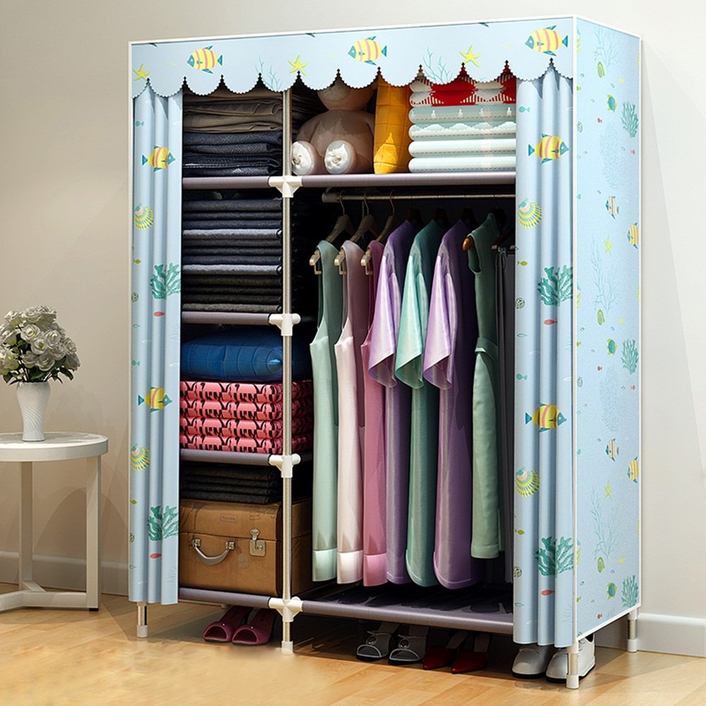 Shade Cloth Wardrobe - Simple Modern Steel Pipe Reinforced Double Assembly Economy Simple garde-robe - Cabinet de