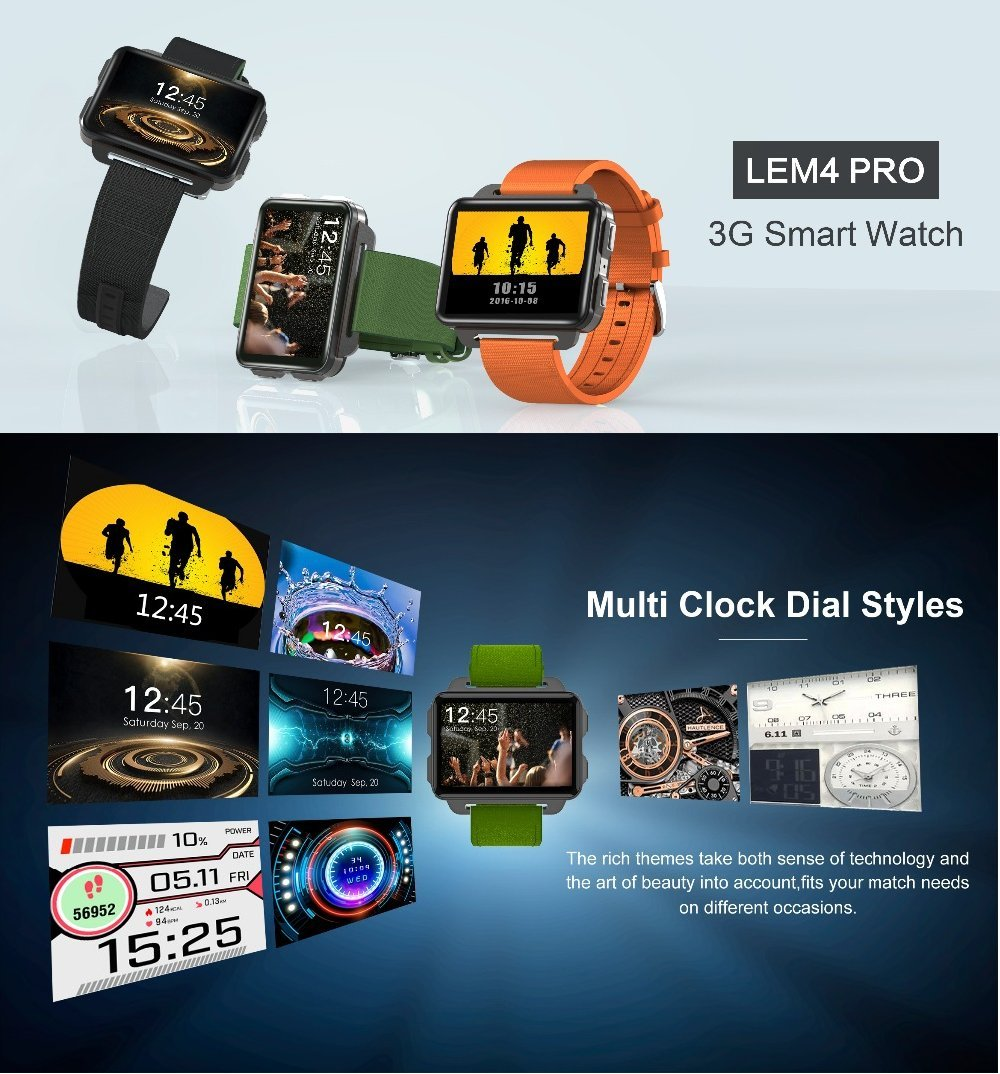 Amazon.com: ⌚ LEMFO LEM4 PRO Smart Watch: Support Android \ iOS, SIM Card, Blutooth Handsfree Calls, Camera, Heart Rate, GPS, Vibration, Apps Download.