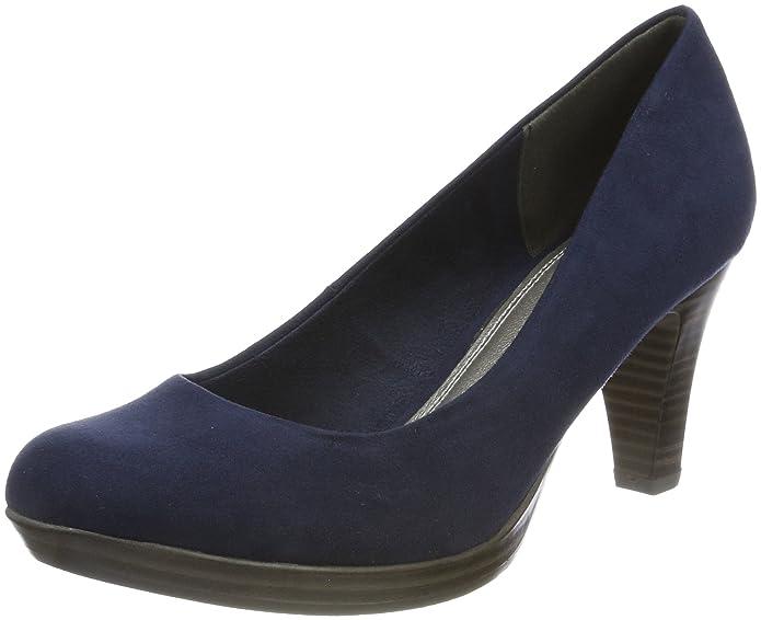 22411, Zapatos de Tacón para Mujer, Azul (Navy Metallic), 36 EU Marco Tozzi