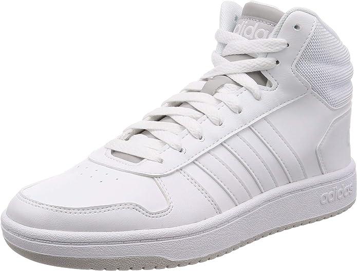 adidas Hoops 2.0 Mid Sneakers Basketball Schuhe Herren Komplett Weiß