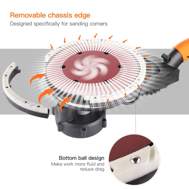 Mango Telesc/ópico 135-165CM PDS01A Tacklife 710W M/áquina Lijadora de Techo con 4M Manguera para Aspiradora Lijadora de Pared LED 4.5M Cable de Alimentaci/ón 6PCS Papel de Lija