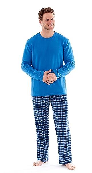 6db324ce6a hombre polar suave ropa Cómoda Pijama Largo Manga Larga Invierno Cómodo  Microfleece Azul Marino