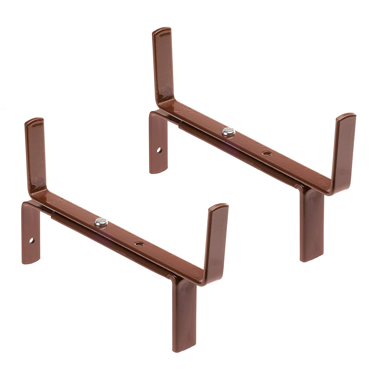 Made in Germany ǀ adjustable brackets for hanging baskets for walls 12-20cm H-form ǀ flower box holder for plant pots and boxes up to 20cm width ǀ trough brackets HANGING BASKET BRACKETS Muro Maxi 1 pair Stainless Steel by 4smile