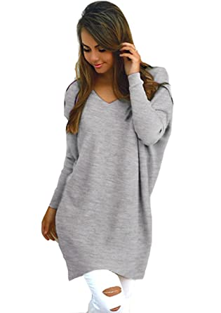 6f9441c946365 Yidarton Womens Sexy Oversized Jumper Dress Long Sleeve V Neck Knitted Tops  Plus Size Baggy Sweater