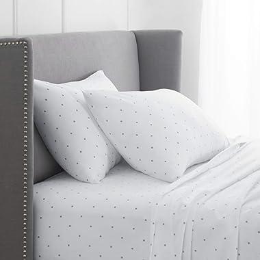 Pinzon 170 Gram Flannel Cotton Bed Sheet Set, King, Grey Dot