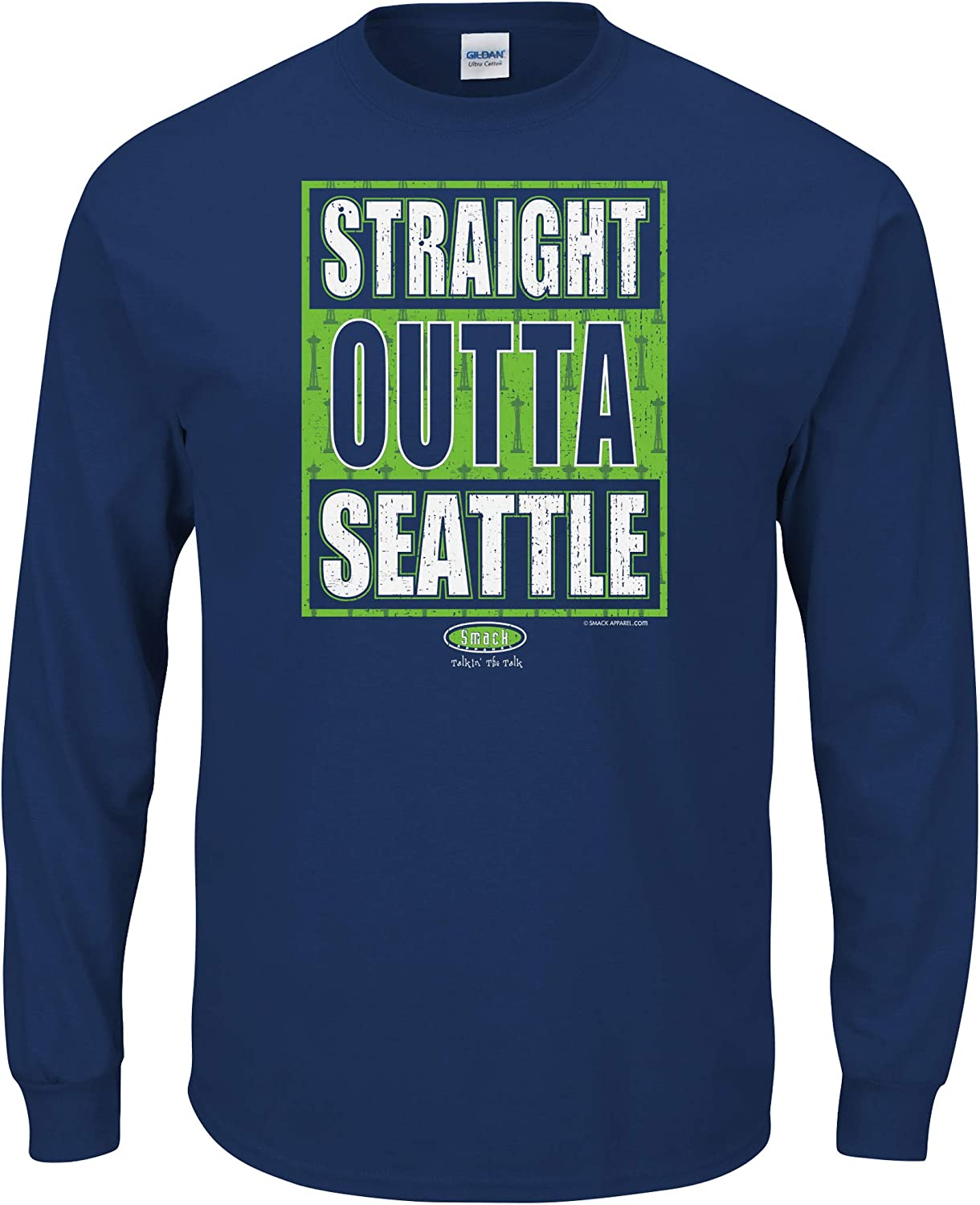 Smack Apparel Seattle Football Fans Sm-5X Straight Outta Seattle Navy T-Shirt