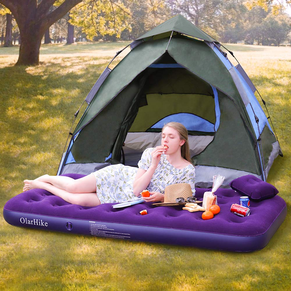 OlarHike Twin Air Mattress with Electric Pump, Portable Air Bed Blow Up Mattress for Camping Car, Repair Patches | Pillow Included by OlarHike (Image #2)